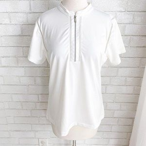 Tail Activewear White 1/4 Zip Golf Polo Large